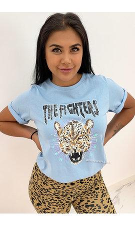 LIGHT BLUE - 'FIGHTER LEO' - AMBIKA LEO TEE