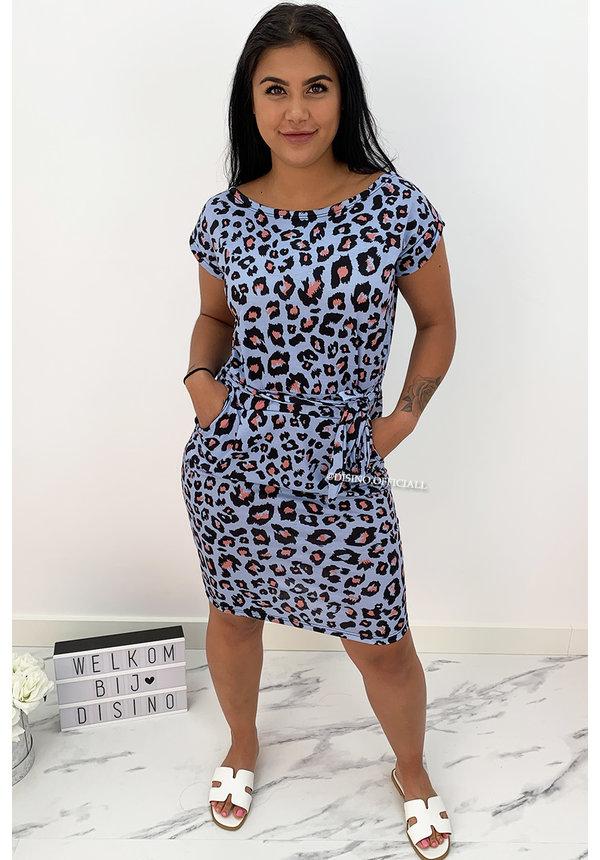 LIGHT BLUE - 'ROXANNE' - SOFT TOUCH LEO COMFY KNOT DRESS