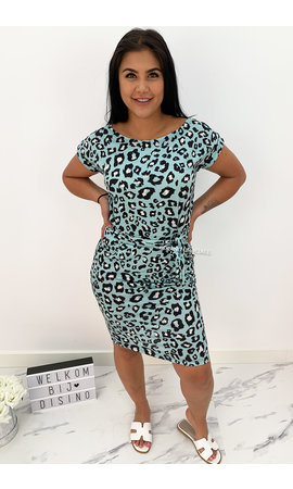 TURQUOISE - 'ROXANNE' - SOFT TOUCH LEO COMFY KNOT DRESS