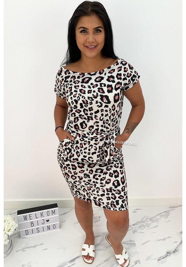 BEIGE - 'ROXANNE' - SOFT TOUCH LEO COMFY KNOT DRESS