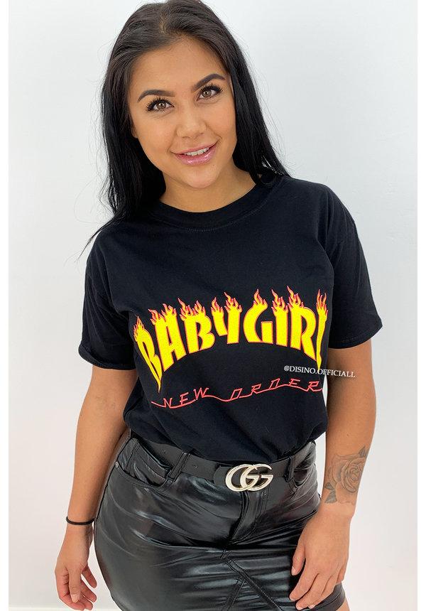 BLACK - 'BABY GIRL' - OVERSIZED TEE
