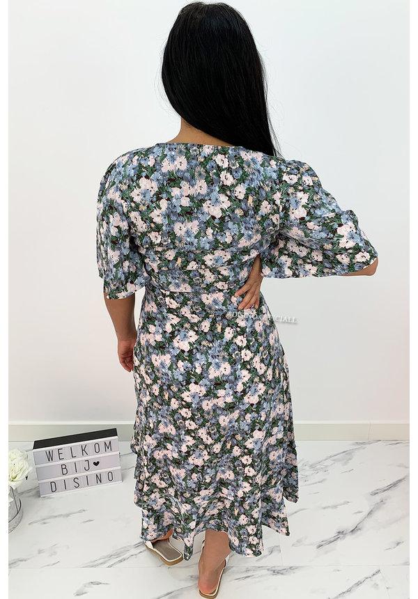 GREEN - 'ILSA' - FLORAL RUFFLE DRESS