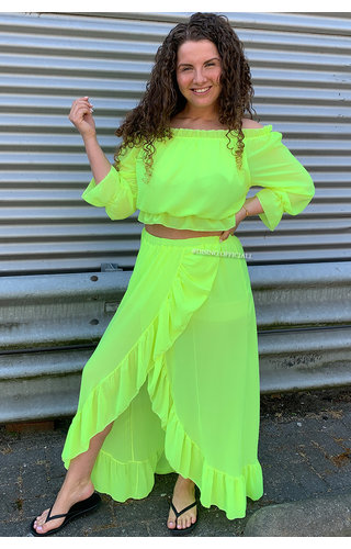 NEON YELLOW - 'ANNA SET' - RUFFLE TWO PIECE SET