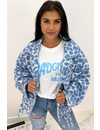 LIGHT BLUE - 'LEONNE' - COZY LEOPARD JACKET