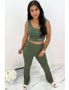 ARMY GREEN - 'SELMA' - COMFY RIBBED CROP TWO PIECE SET