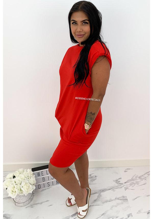 RED - 'JAMES DEAN DRESS' - OVERSIZED BOYFRIEND DRESS
