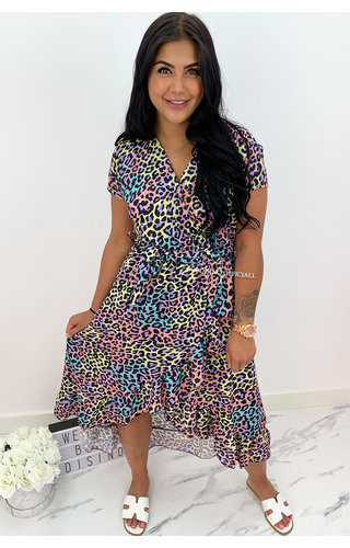 COLORFULL - 'ELLA-MAI' - ANIMAL PRINT MAXI RUFFLE DRESS
