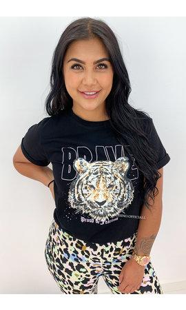 BLACK - 'BRAVE' - AMBIKA LION HEAD TEE