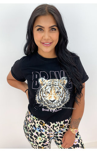 BLACK - 'BRAVE' - AMBIKA LION HEAD TEE
