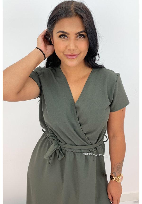 KHAKI GREEN - 'BEAU' - PREMIUM QUALITY MAXI DRESS