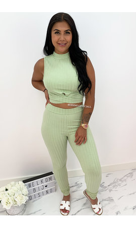 MINT GREEN - 'OMARI PANTS' - RIBBED TWO PIECE SET