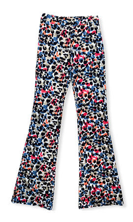 RED - 'SOPHIA' - LEOPARD PRINT FLARED PANTS