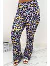 PURPLE - 'SOPHIA' - LEOPARD PRINT FLARED PANTS