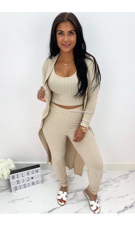 BEIGE - 'OMARI 3 PIECE' - RIBBED COMFY 3 PIECE SET