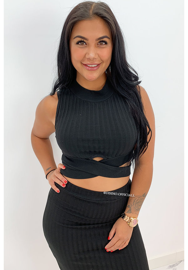 BLACK - 'OMARI SKIRT' - RIBBED TWO PIECE SET