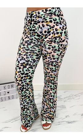 MINT - 'SOPHIA' - LEOPARD PRINT FLARED PANTS