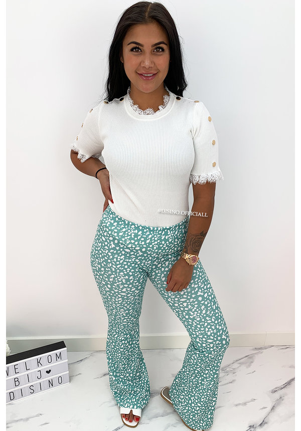 GREEN - 'LEO LOVEY' - LEO DOTTED FLARED PANTS