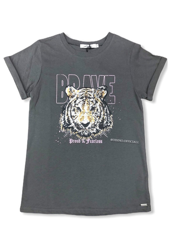 DARK GREY - 'BRAVE' - AMBIKA LION HEAD TEE