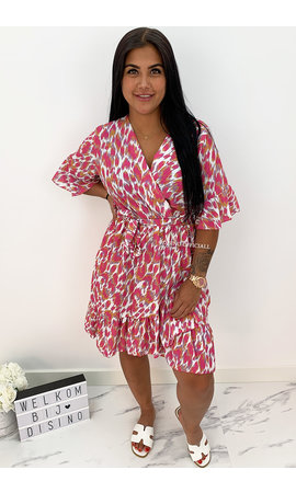PINK - 'AMBER' - ANIMAL PRINT RUFFLE DRESS