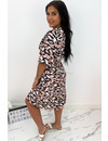 PINK - 'CATHY DRESS SHORT' - COLORFULL LEO PRINT RUFFLE DRESS