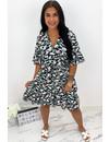 MINT GREEN - 'CATHY DRESS SHORT' - COLORFULL LEO PRINT RUFFLE DRESS
