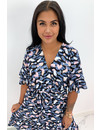 BLUE - 'CATHY DRESS SHORT' - COLORFULL LEO PRINT RUFFLE DRESS