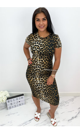 LEOPARD - 'NICKY' - SOFT TOCH LEOPARD PRINT MIDI DRESS