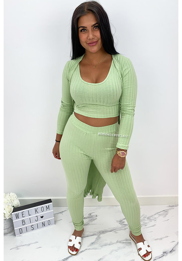 GREEN - 'OMARI 3 PIECE' - RIBBED COMFY 3 PIECE SET