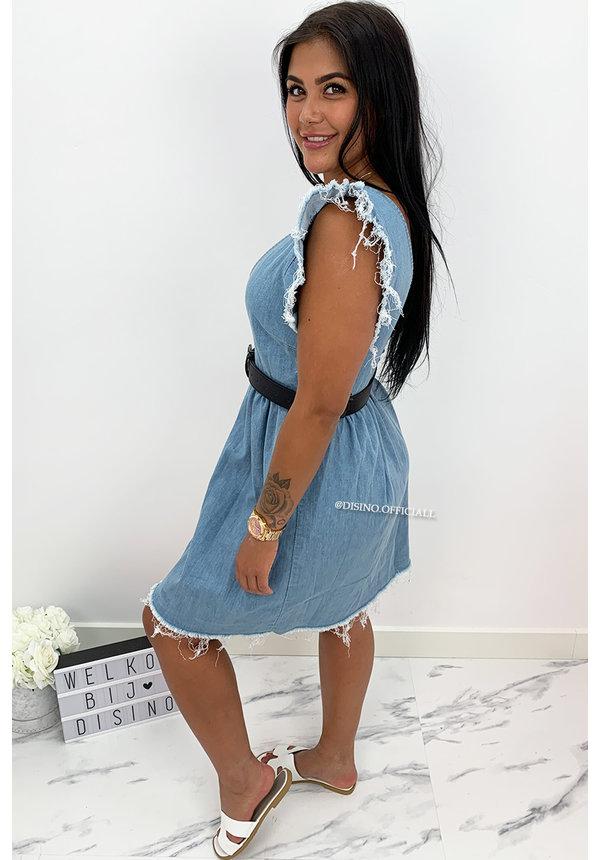 BLUE - 'DANIA' - DENIM V-NECK DRESS
