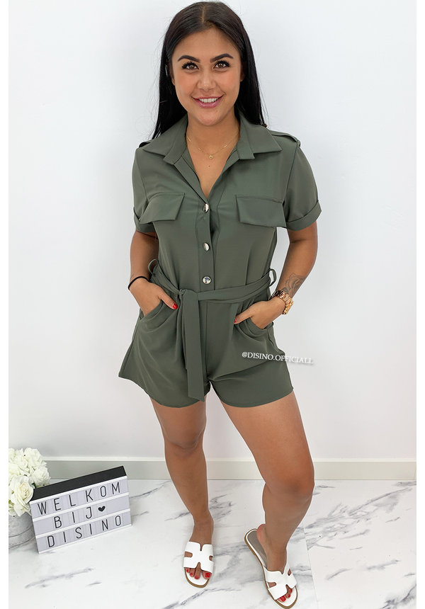 KHAKI GREEN - 'DENICE' - CARGO PLAYSUIT