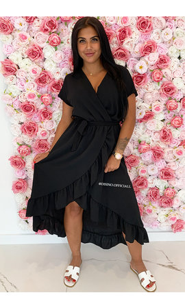 BLACK - 'LAGERA' - BASIC RUFFLE MAXI DRESS