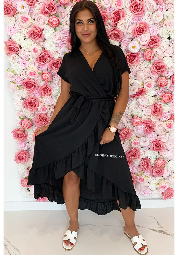 BLACK - 'LAGERA' - BASIC RUFFLE MAXI DRESS