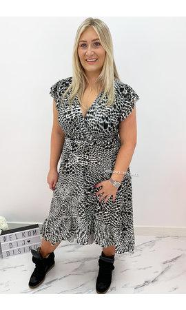 KHAKI GREEN - 'KAYLEE' - CHEETAH PRINT MAXI RUFFLE DRESS