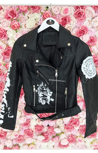 BLACK - 'RIVER' - GRAFFITI LEATHER BIKER JACK