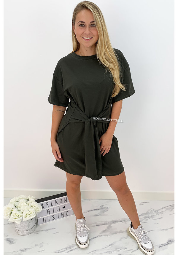 KHAKI GREEN - 'KNOT ME UP' - SUPER COMFY OVERSIZED KNOT TEE