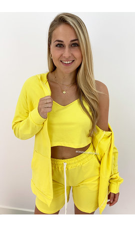 YELLOW - 'KOURTNEY 3P' - SHORT JOGGER 3 PIECE SET