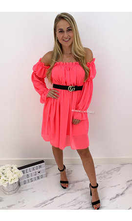 NEON PINK - 'TIANA' - GYPSY OFF SHOULDER DRESS