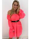 NEON PINK - 'TIANA' - GYPSY OFF SHOULDER DRESS