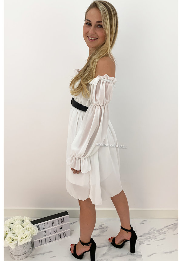 WHITE - 'TIANA' - GYPSY OFF SHOULDER DRESS