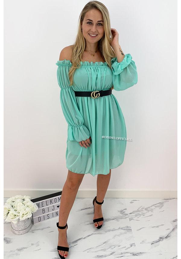 MINT GREEN - 'TIANA' - GYPSY OFF SHOULDER DRESS