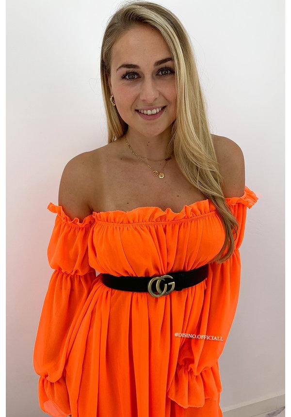 ORANGE - 'TIANA' - GYPSY OFF SHOULDER DRESS