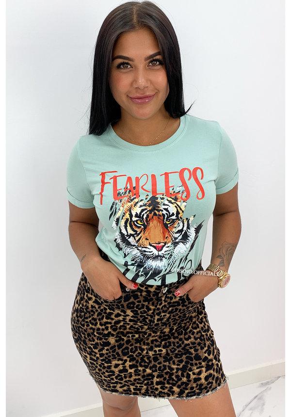 MINT GREEN - 'FEARLESS TIGER' - TIGER HEAD TEE
