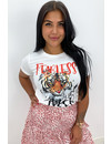 WHITE - 'FEARLESS TIGER' - TIGER HEAD TEE