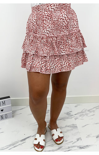 RED - 'ABBY' - LEOPARD LAYERED RUFFLE SKIRT