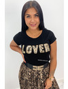 BLACK - 'LOVER' - LEOPRD PRINT TEXTED TEE