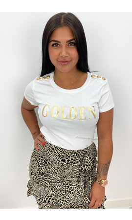 WHITE - 'GOLDEN TEE' - GOLD BUTTON SUPER STRETCH TEE