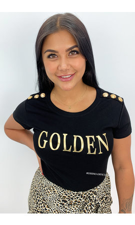 BLACK - 'GOLDEN TEE' - GOLD BUTTON SUPER STRETCH TEE