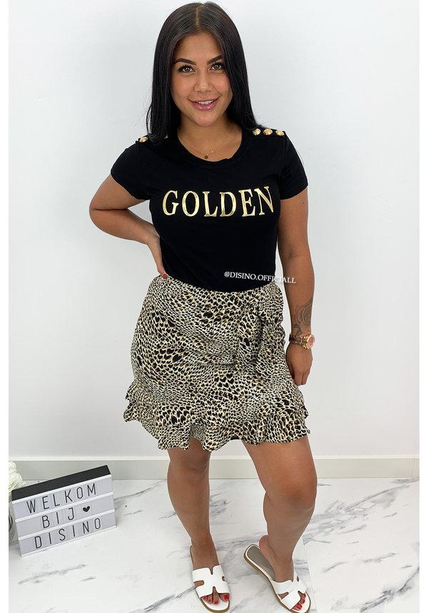 BLACK - 'GOLDEN TEE' - GOLD BUTTON SUPER STRETCH TEE