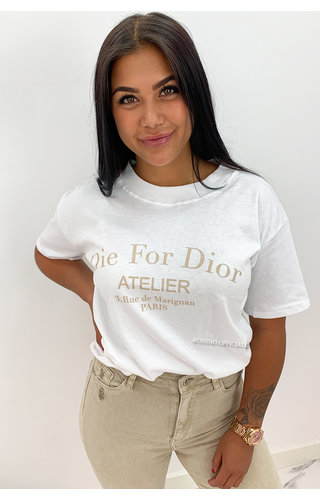 WHITE BEIGE - 'DIE FOR DIOR' - PREMIUM QUALITY OVERSIZED INSPIRED TEE