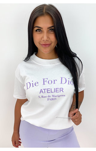WHITE LILA - 'DIE FOR DIOR' - PREMIUM QUALITY OVERSIZED INSPIRED TEE